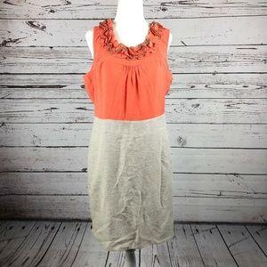 The Limited Orange Taupe Gray Tweed Ruffle Dress